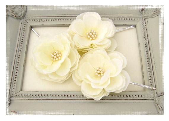 Bridal Set of  Three Ivory Hair Flowers - Free shipping on all items