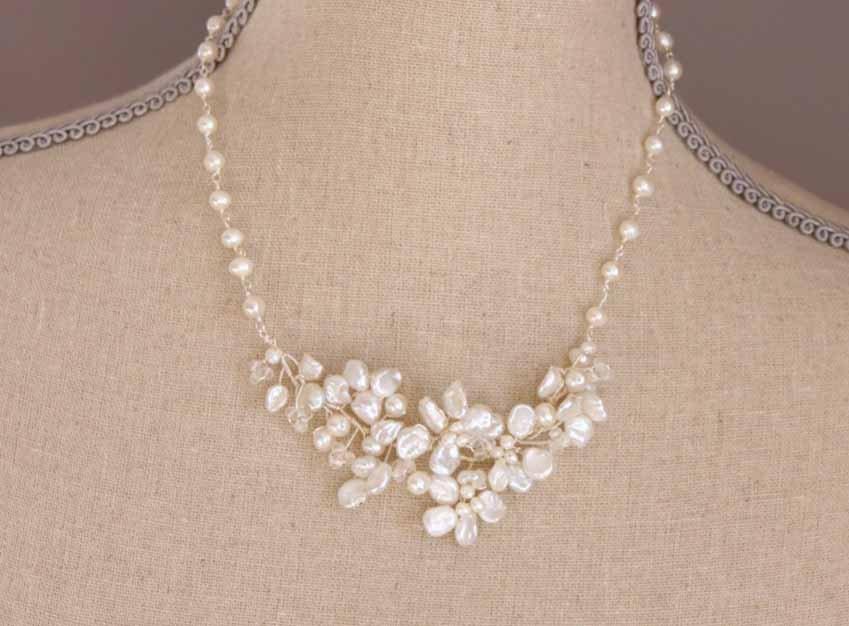 Keshi Pearl Flower Cluster Necklace