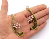 Crochet wire flower earrings with sterling silver posts and garnet and citrine semi precious stones