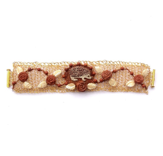 Crochet wire hedgehog bracelet gold plated with red jasper rose flowers and stones and mother of pearl leaves