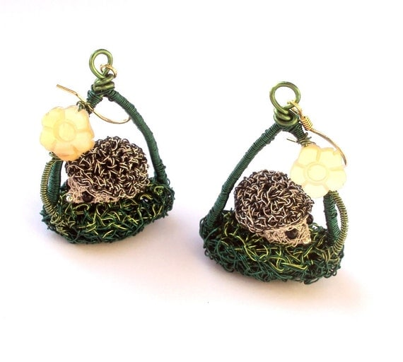 Hedgehog earrings, crochet wire with gold plated earring hooks and mother of pearl flowers