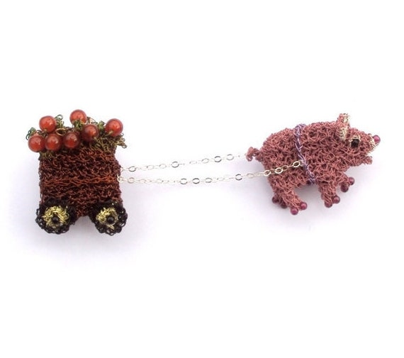 Pig brooch, crochet wire pig pulling an apple cart unusual double pin with carnelian stones, animal brooch