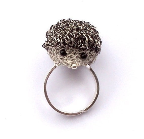Hedgehog ring with silver plated adjustable band, animal jewelry