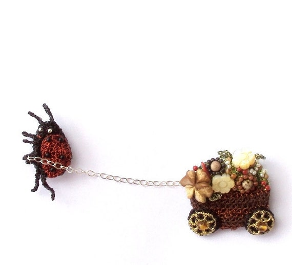 Ladybug pulling flower cart brooch, unusual crochet wire double pin with semi precious stones