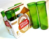 Six Pack Set of Recycled Stella Artois Beer Bottle Drinking Glass Cups