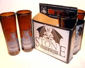 Six Pack Set of Recycled Stone Levitation Beer Bottle Drinking Glass Cups