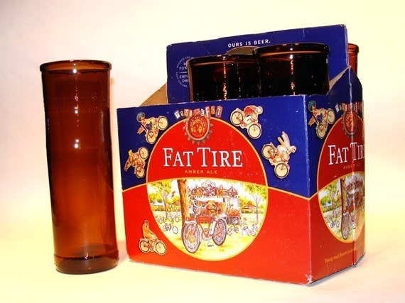 Six pack of Recycle Fat Tire Beer Bottle Drinking Glasses / Amber Eco Friendly / Dishwasher Safe