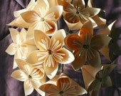 Sweet Cream Origami Flowers - Set of 6