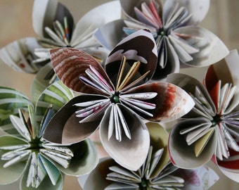 The 3Rs - Magazine origami flowers (bouquet of 6)