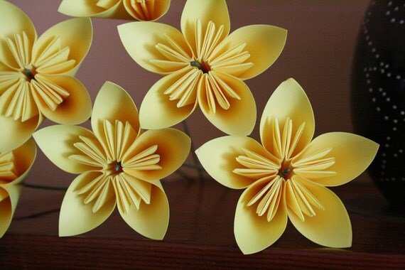 Sunny Side Up - Set of 6 yellow origami flowers (MADE TO ORDER)