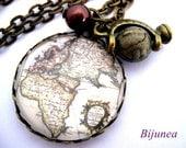 World map necklace - Map necklace - World necklace - Romantic world necklace - Map necklaces n445