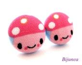 Mushroom earrings - Pink mushroom stud earrings - Mushroom studs - Mushroom post earrings sf848
