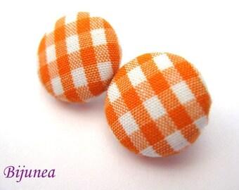 Orange gingham stud earrings sf154