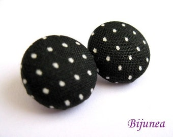 Polka dot stud earrings - Black polka dot earrings - Black polka dot posts - Black polka dot studs - Polka dot studs sf152