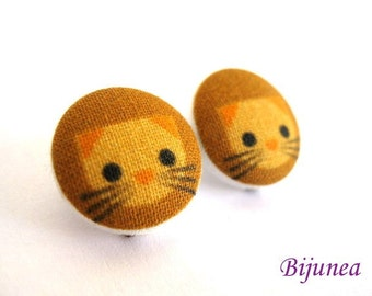 Cat earrings - Brown cat stud earrings - Brown cat posts - Cat post earrings sf489