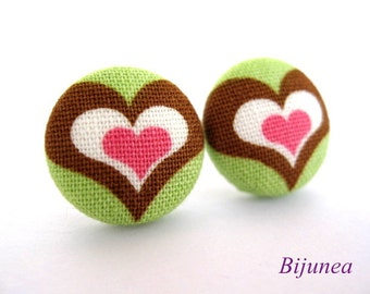 Heart earrings - Green heart earrings - Heart studs - Heart stud earrings - Heart posts - Heart post earrings sf642