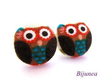 Owl earrings - Brown owl earrings - Bird owl studs - Bird owl stud earrings - Owl posts - Owl post earrings sf698