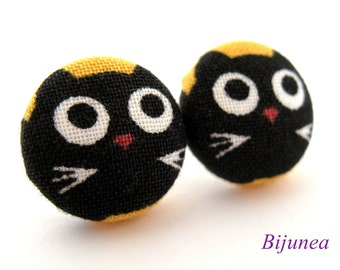 Cat earrings - Black cat stud earrings - Cat studs - Black post earrings sf851