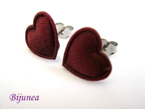 Heart earrings - Burgundy heart stud earrings - Heart studs - Heart post earrings - Heart posts