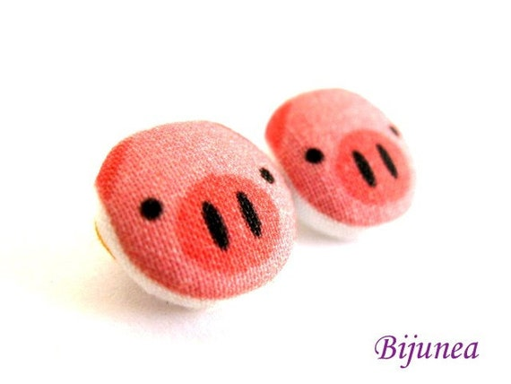 Pig earrings- Pink pig earrings - Pig stud earrings - Pig studs - Pig posts - Pig post earrings sf480