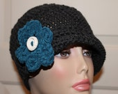 Crochet Twisted Brim Cloche, Hat, Cap, Charcoal, Teal Blue Flower, Clay Button