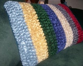 ON SALE Crochet Travel Throw Nap Pillow Multi Color Light Blue Ruby Red Emerald Green Champagne Golden Honey Purple Charcoal Chenille Yarn