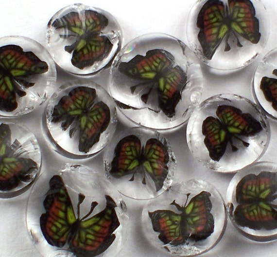 Monarch Butterfly 90 COE Handmade Lampwork Murrini Slices 10