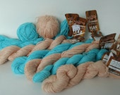Stashbuster Sale -- Six (6) skeins of PEARL (04) and TURQUOISE (10) Fibra Natura Flax Yarn (plus extra)