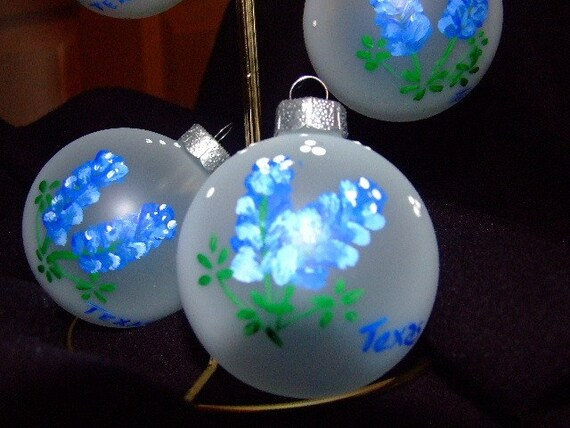 Hand painted Texas blue bonnet christmas ornament