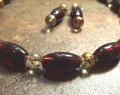 Ruby Red Art Glass Necklace Set