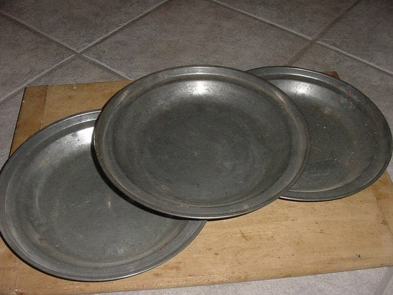 Old Antique Tin Plates Primitive Colonial Re Enactment By