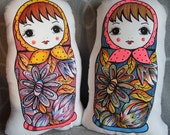 Plush Doll- Russian Babushka, Matryoshka Doll (Cushion) - orange scarf (orange back)