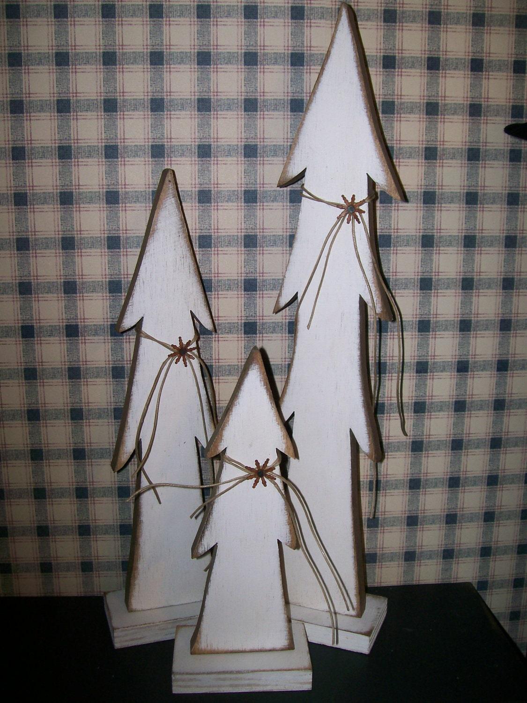 Set Of 3 White Trees