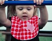 I Heart Texas Classic Bib- Pink Red Modern Heart Texas Pride Baby Bib
