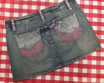 SALE Short Denim Patriotic Repurposed Skirt with rhinestones