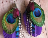 DREAM ON - Purple Feathers and Turquoise Grizzly and Natural Grizzly Feathers and Peacock Feather Earrings  Boho chic  Peacock Earrings