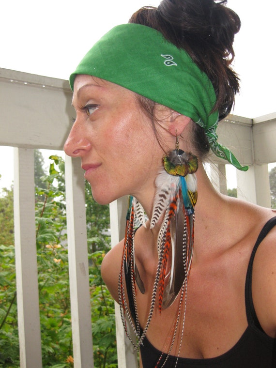 FOREST DANCER - Long Feather Earrings Orange/Grizzly/Turquoise feather mix earrings Bohemian Style