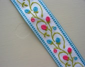 RESERVED -- vintage turquoise and pink rosebuds woven cotton trim -- 1 1/4 inches wide x 8 1/2 yards
