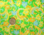 SALE :) 1960s/70s bright floral print vintage cotton blend fabric piece