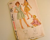 SALE :) vintage 1940s simplicity pattern 1666 girls playsuit and dresses -- size 6
