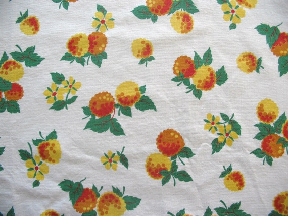 vintage yellow raspberries decor fabric 34 wide by the