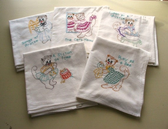 set of five vintage embroidered kittens cotton feedsack towels