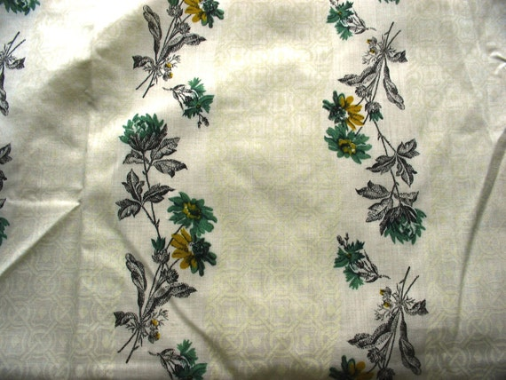 RESERVED FOR BIHATSU -- vintage green and gold floral print cotton blend fabric -- 45 inches wide x 1 yard plus