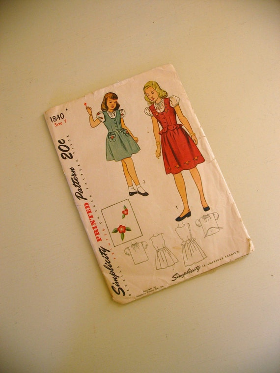 vintage 1940s simplicity pattern 1840 girls jumper and blouse with transfer -- size 7