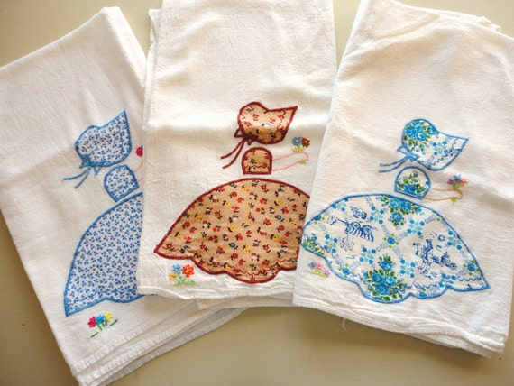 set of 3 vintage sunbonnet sue applique/embroidered feedsack kitchen towels