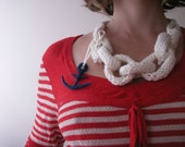 RESERVED FOR ERIN Anchors Aweigh Pirates organic cotton Sloanester necklace
