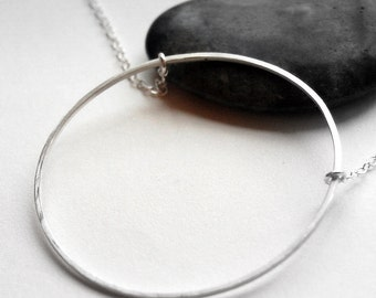 Extra Large Circle Necklace in Sterling Silver:  Delicate Chain. Simple Modern Jewelry. Mod. Big. XL - by kusu