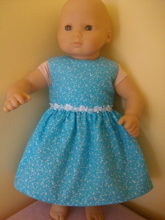 Blue and White Dress Doll Clothes fits Bitty Baby doll