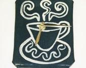Coffee Time clock handmade clay wall art teal