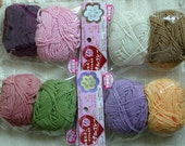 NEW --- 8 Small Anti-Bacterial Eco-Tawashi Yarn - Berry, Grape, Green Tea, Strawberry, Beige, Mocha, Purple, Orange